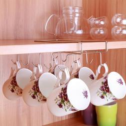 Under Shelf Coffee Cup Mug Holder Hanger Storage Rack Cabine