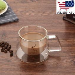 US Double Wall Glass Cups For Cappuccino Coffee Tea Espresso