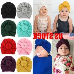 US STOCK Newborn Toddler Kids Baby Boy Girl Turban Cotton Be