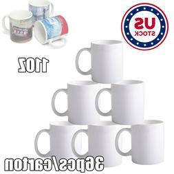 USA Stock 36pcs Blank White Mugs 3A Grade 11OZ Sublimation O