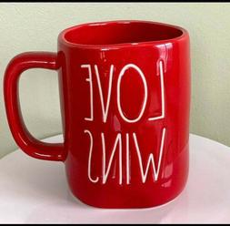 Rae Dunn Valentine's Day LL Red LOVE WINS Mug - All Red/Whit