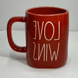 "Rae Dunn Valentine's Day LL Red ""LOVE WINS"" Mug - All Red/Wh"