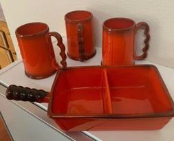 Metlox PoppyTrail Vernon Kilns California Pottery Red Rooste