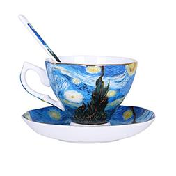 Vincent Van Gogh Bone China Tea Cup and Saucer Set With Gift