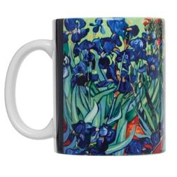 Vincent Van Gogh Les Irises Fine Art Coffee Tea Mug, Fine Wh