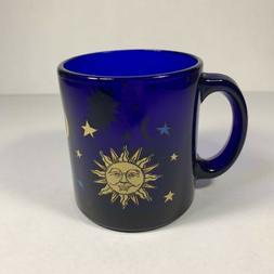 Vintage Libbey Coffee Mug Cobalt Blue Glass Celestial Sun Mo