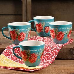 The Pioneer Woman Vintage Floral Teal 16 Ounce Mug Set Set o
