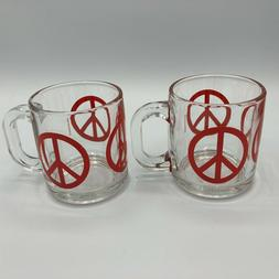 Vintage Libbey Graphiglass Peace Sign Coffee Mugs Excellent