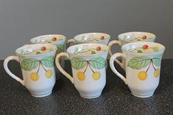 "MIKASA Cherry Grove ~VINTAGE Set of 6 ~ MUGS 4 1/2"" ~Strawbe"