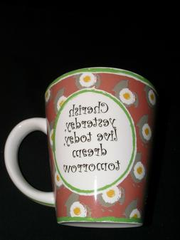 """Vintage Tumbleweed Pottery Mug """"Cherish Yesterday, Live Toda"""