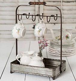 Vintage Rustic Galvanized Tabletop Mug Rack Tea Cup Hook bas