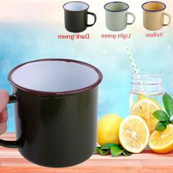 Vintage Style Enamel Cup Mug for Drinking Coffee Bear Tea Ca