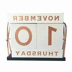 yofit vintage wooden block perpetual calendar desk accessory