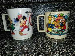 Vintage Walt Disney World Train and Parade Plastic Cup Mugs/