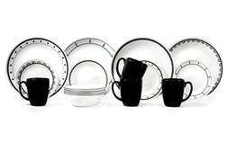 Corelle 16 Piece Vitrelle Glass Livingware Geometric Pattern