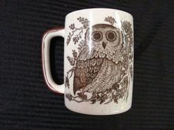 VTG New OTAGIRI Original OWL Speckled Stoneware Emboss MUG C