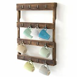 Wall Mounted 16 Hook Torched Wood Coffee Mug Cup Holder Disp