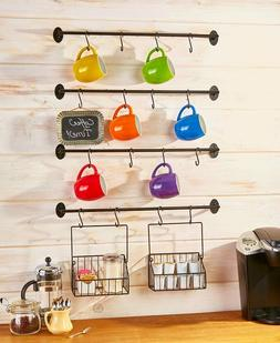 Wall Mounted Coffee Mug Rack K-Cup Basket Holder Organizer S