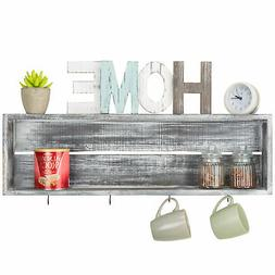MyGift Wall-Mounted Distressed Grey Wood Floating Shelf with