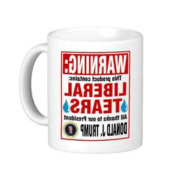 WARNING: Contains LIBERAL TEARS Coffee Mug / Donald Trump fo