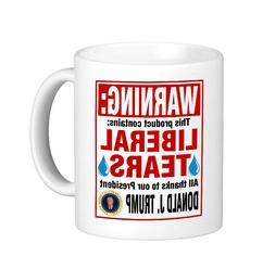 WARNING: Contains LIBERAL TEARS Coffee Mug / Donald Trump fo