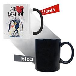 watercolor penguin morphing mug heat