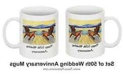 50th Wedding Anniversary Coffee Mugs -Androck Chairs - Set o