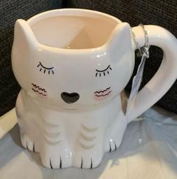 10 Strawberry Street Whimsical Cupboard Mug WHITE cat NEW