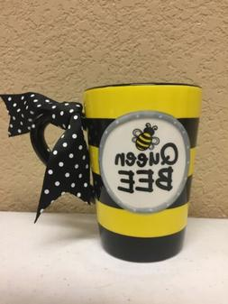 Whimsical Queen Bee 13 oz Coffee Mug with Polka Dot Bow on H