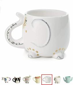 White Ceramic Coffee or Tea Mugs: Tri-Coastal Design Elephan