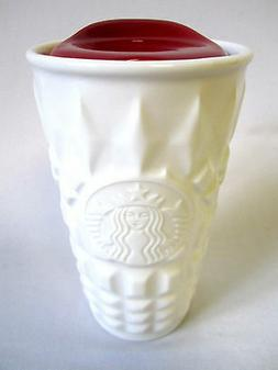 STARBUCKS WHITE CERAMIC DOUBLE WALL MUG 10 oz WITH RED LID 2