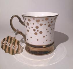 10 Strawberry Street White Ceramic  Gift Mug Gold Confetti H