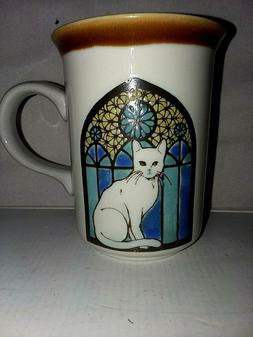 White Kitty Cat/Stained Glass Stoneware Coffee Mug