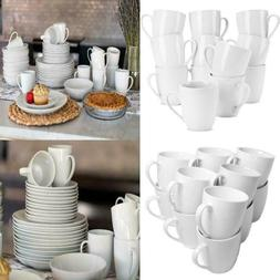 White Mugs 10 Oz. Set Of 12 Home Kitchen Durable Porcelain C
