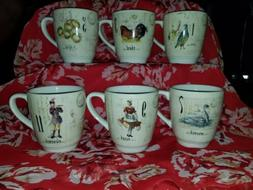Williams Sonoma 12 Days of Christmas Coffee/Tea Mugs/Cups Se