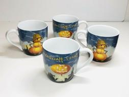 Williams Sonoma Halloween Mugs Set of 4 Vintage Pumpkin Patt