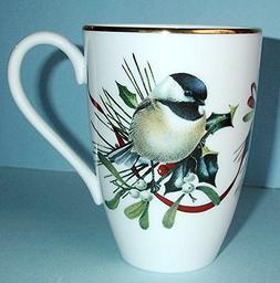 Lenox Winter Greetings Chicadee Bird White Accent Mug New