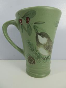 Pfaltzgraff Winterwood Green Tall Coffee Latte Mug Chickadee