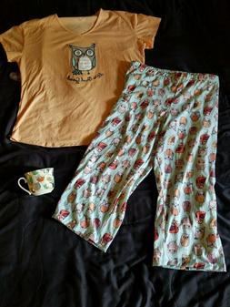 "Women's Pajamas ""It's Owl Good"" L Large 12-14 NWT - PLUS - O"