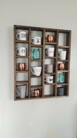 Wooden Coffee Mug Rack Holder Organizer Hooks Wall Mount Hom