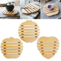 Wooden Insulation Mat Kitchen Dining Table Placemat for Teap