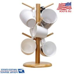 Wooden Kitchen Display Stand Tree Rack Mug Cup Holder Coffee