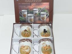 SPODE WOODLAND Set of 4 Hunting Dog Mugs - New in Box