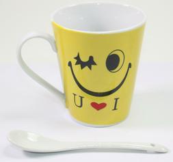 Yellow Winking Emoji Green Black Tea Coffee Mug with Stirrin