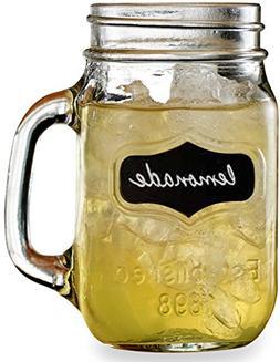 Circleware Yorkshire Mason Jar Mugs with Glass Handles and F
